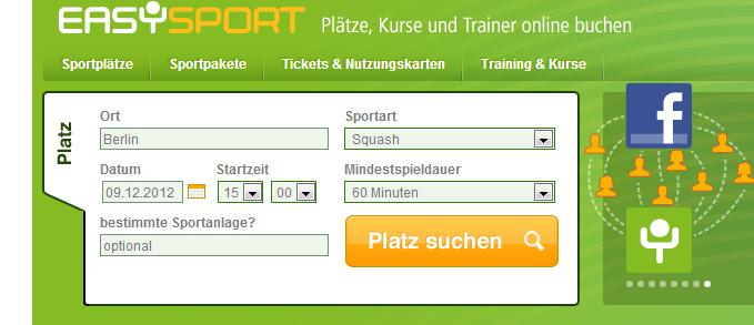 1.Schritt Ausfüllen der Suchmaske auf Easysport.de
