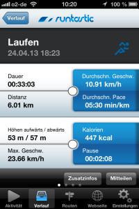 Runtastic Lauf-App: Trainingsaufzeichnung.