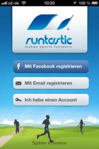 Runtastic Lauf-App: Startbildschirm.