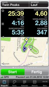 Runmeter GPS Datenaufzeichnung