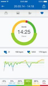 Herzfrequenzmessung in der Runtastic app