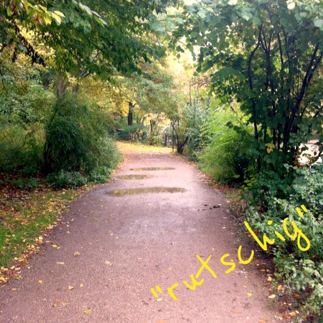 Pfütze im Park beim Joggen und Laufen
