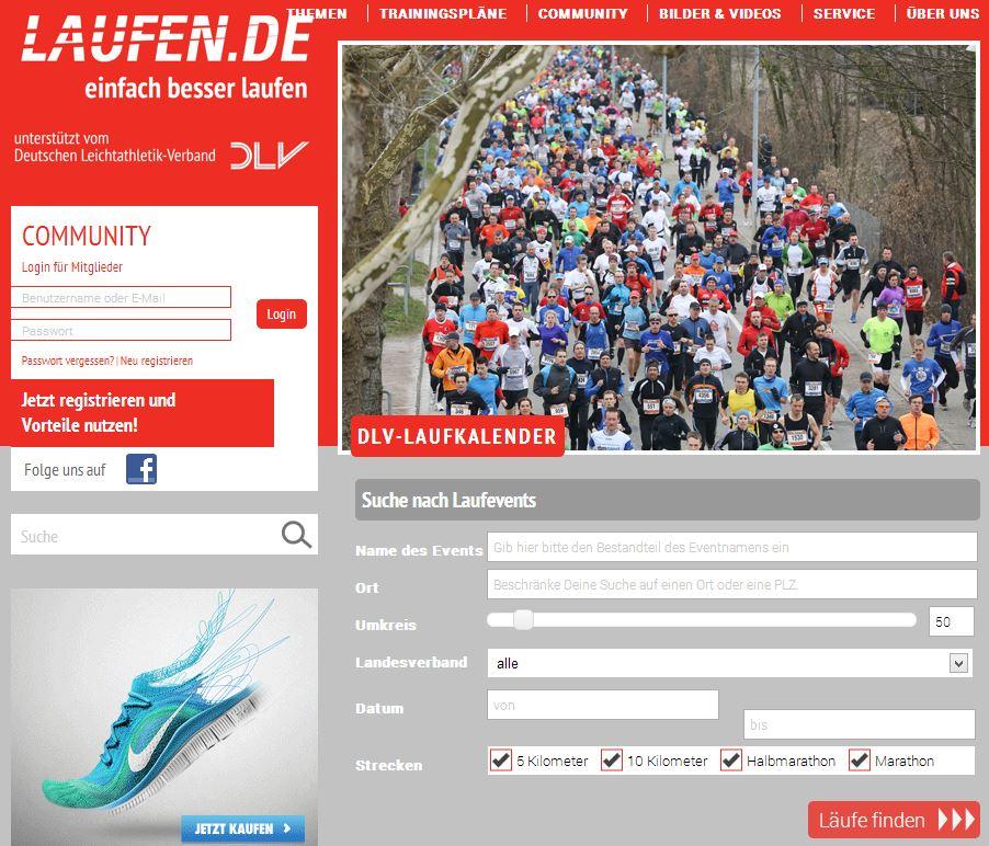 Laufveranstaltungen für Laufanfänger auf laufen.de finden