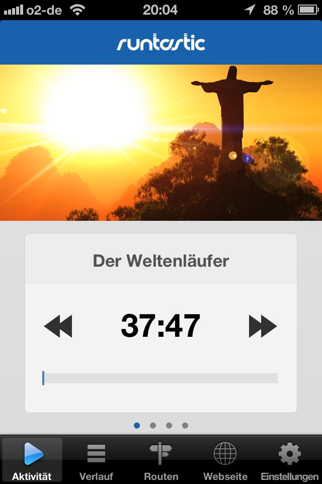 story running von runtastic startbildschirm