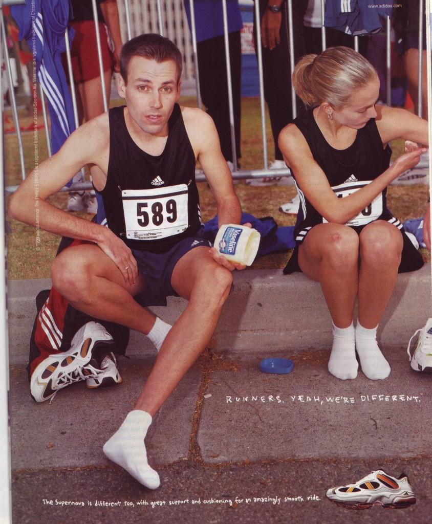 Adidas Werbekampagne: Runners. Yeah, we are different - Läufer reiben sich mit Vaseline ein