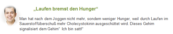 Infobox: Laufen bremmst den Hunger