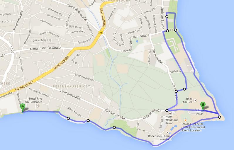 Strecke dritter Konstanzer Frauenlaufes (6,7 km)