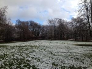 Joggen im Winter: Park mit Schnee