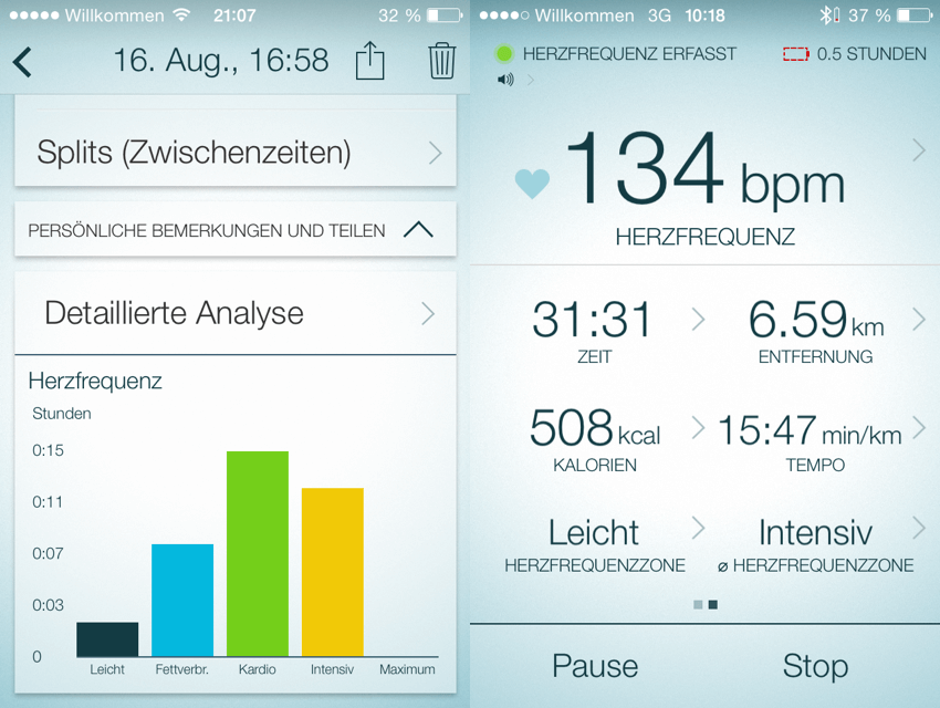 Verlaufsanalyse mit der Jabra Sport Life App