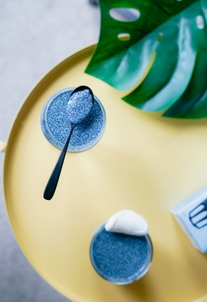Chia-Pudding: einfach quellen lassen mit reichlich Flüssigkeit