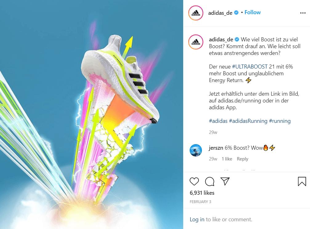 Adidas Ultraboost 21 mit 6% mehr Energy Return - Instagram